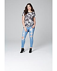 Mono Print Woven Front Jersey Top