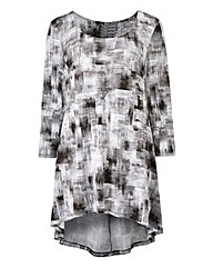 Mono Print Dip Back Jersey Top