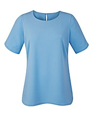 Ice Blue Jersey Top With Curved Hem