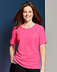 Neon Pink Jersey Top With Curved Hem
