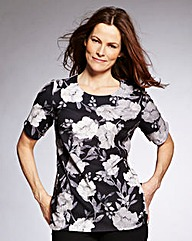 Mono Floral Jersey Top With Curved Hem