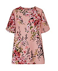 Pink Floral Jersey Top With Curved Hem