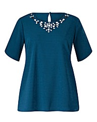 Teal Jersey Top With Curved Hem
