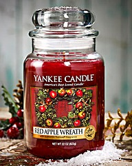 Yankee Red Apple Wreath Large Candle Jar