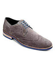 Black Label Suede Brogue Wide Fit