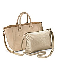 2 in 1 Shopper Bag With Gold Clutch Bag