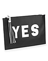 Yes No Slogan Clutch Bag