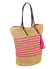 Striped Raffia Beach Bag