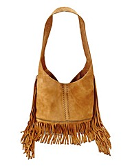 Tan Suede Fringed Shoulder Bag