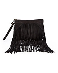 Black Suede Fringed Clutch Bag