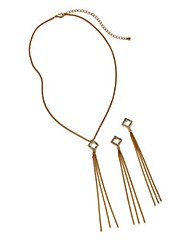 GOLD NECKLACE & MATCHING EARRING SET