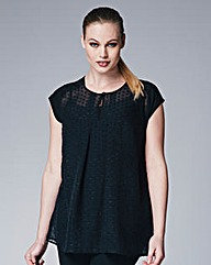 Pleated Front Dobby Top