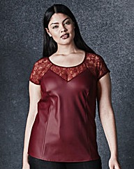 PU Lace-Trim Top