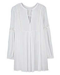 Lace Trim Smock Tunic Top