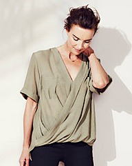 Short Sleeve Crinkle Wrap Blouse