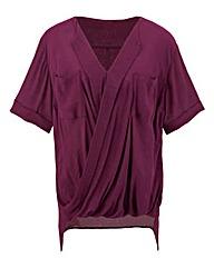 Short Sleeve Crinkle Wrap Blouse