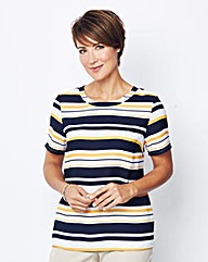 Mono Stripe Shell Top