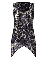 Navy Print Dipped Side Sleeveless Top