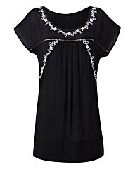 Black/Ivory Embroidered Detail Boho Top