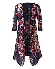 Floral Print Longline Chiffon Kimono