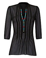 Black Embellished Dip Hem Tunic