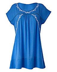 White/Blue Embroidered Detail Boho Top