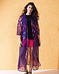 Pink Print Longline Kimono