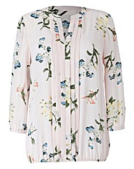 Pale Pink Print Pleat Detail Blouse