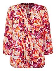 Orange Print Pleat Detail Blouse