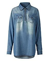 Zip Detail Denim Blue Shirt