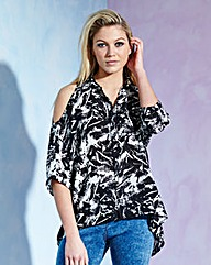 Split Back Cold Shoulder Blouse