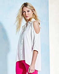 Split-Back Cold-Shoulder Blouse