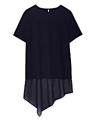 Navy Asymmetric Shell Top