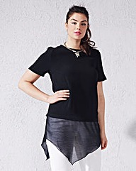 Black Asymmetric Shell Top
