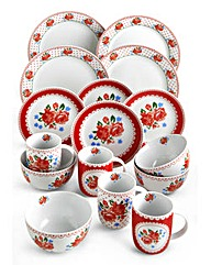 Folk Floral 16 Piece Dinner Set