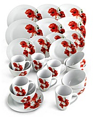 Poppy 24 Piece Dinnerware Set