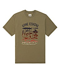Kayak Tall Gone Fishing Print T-Shirt