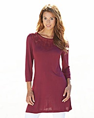 Lace Detail 3/4 Sleeve Jersey Tunic