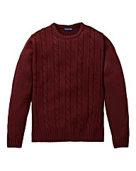 Premier Man Burgundy Cable Crew Sweater