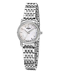 Rotary Silver Crystal Set Bracelet Watch