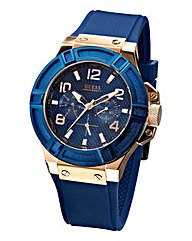 Guess Gents Blue Silicone Strap Watch