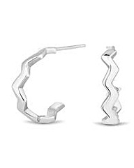 Simply Silver Polished Zig Zag Earring