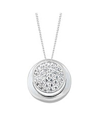 Simply Silver Pave Crystal Halo Pendant