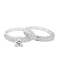 Simply Silver Cubic Zirconia Ring Set