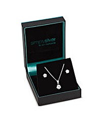 Simply Silver Cubic Zirconia Flower Set