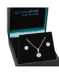 Simply Silver Pave Crystal Ball Set
