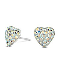 Simply Silver Pave Heart Earring