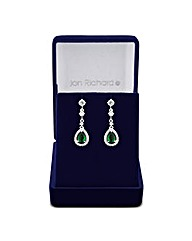 Jon Richard Pave Emerald Drop Earring