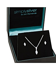 Simply Silver Cubic Zirconia Navette Set