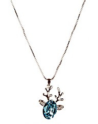 Reindeer Pendant- Blue Swarovski Crystal